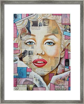 Marilyn In Pink And Blue Framed Print by Joseph Sonday