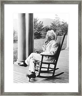 Mark Twain On A Porch Framed Print by Underwood Archives