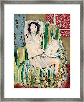 Matisse's Odalisque Seated With Arms Raised In Green Striped Chair Framed Print