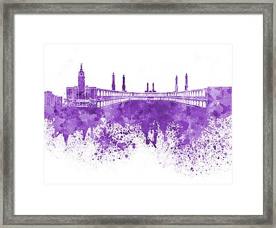Mecca Skyline In Watercolor On White Background Framed Print by Pablo Romero