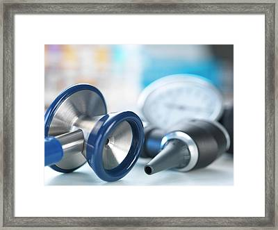 Medical Instruments Framed Print by Tek Image