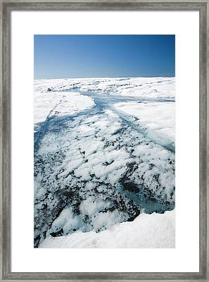 Melt Water On The Greenland Ice Sheet Framed Print