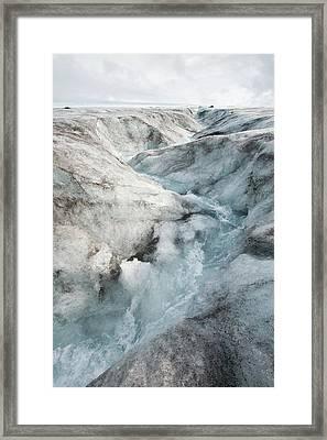 Meltwater On Langjokull Ice Cap Framed Print by Ashley Cooper