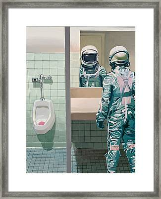 Framed Print featuring the painting Men's Room by Scott Listfield