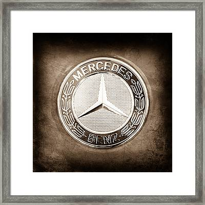 Mercedes-benz 6.3 Amg Gullwing Emblem Framed Print by Jill Reger