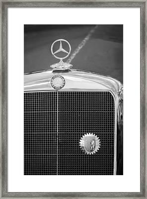 Mercedes-benz Hood Ornament - Emblem Framed Print by Jill Reger