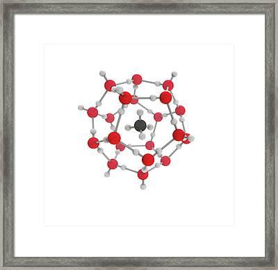Methane Hydrate Molecule Framed Print by Mikkel Juul Jensen