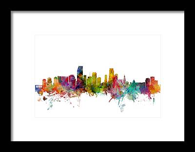 Miami Skyline Framed Prints