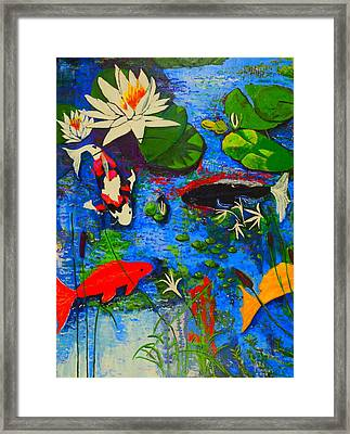 Framed Print featuring the painting Miami Koi Collage by Angela Annas