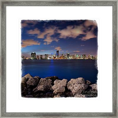 Framed Print featuring the photograph Miami Skyline At Night by Carsten Reisinger