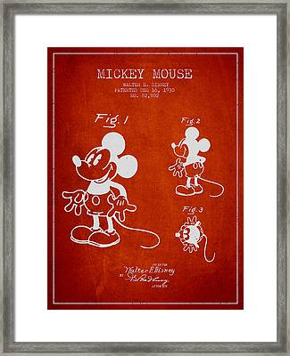 Mickey Mouse Patent Drawing From 1930 Framed Print by Aged Pixel