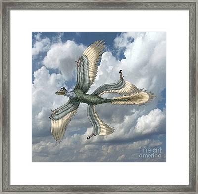 Microraptor Framed Print by Spencer Sutton
