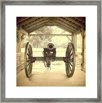 Military Cannon Fort Washita Framed Print by Mickey Harkins