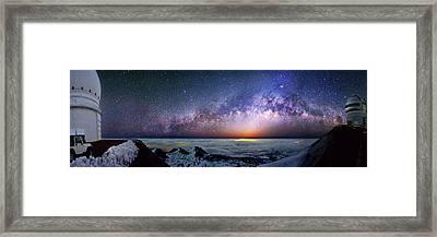 Milky Way Over Telescopes On Hawaii Framed Print