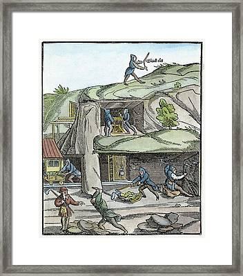 Mining, 16th Century Framed Print by Granger