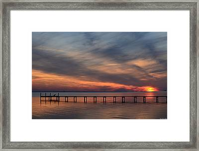 Mirrored Sunset Colors On Santa Rosa Sound Framed Print by Jeff at JSJ Photography