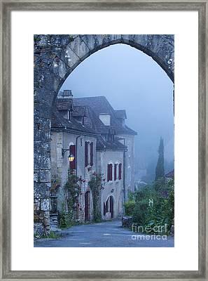 Misty Dawn In Saint Cirq Lapopie Framed Print