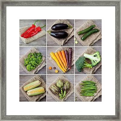 Mixed Vegetables Collage Framed Print