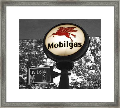 Mobil Gas Framed Print by Raymond Earley