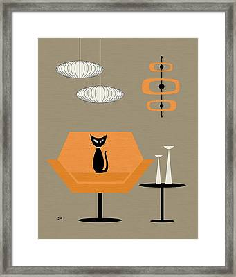 Framed Print featuring the digital art Mod Chair In Orange by Donna Mibus