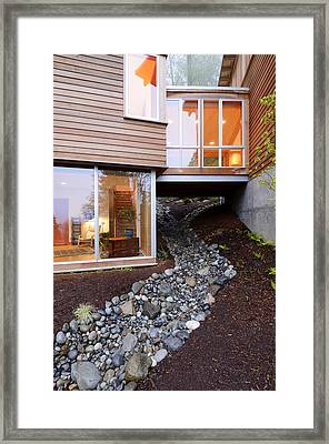 Modern House Over Rocky Creek Framed Print by Will Austin