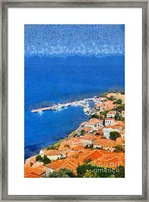 Molyvos Town Framed Print by George Atsametakis