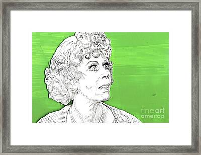 Framed Print featuring the mixed media Momma On Green by Jason Tricktop Matthews