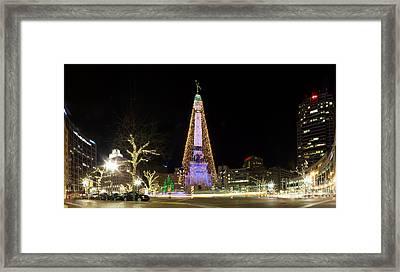 Monument Circle At Christmas Framed Print
