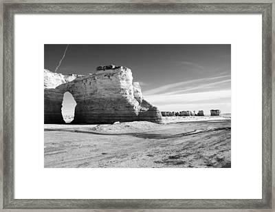 Monument Rocks Of Kansas In Black And White Framed Print