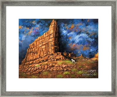 Framed Print featuring the painting Monument Valley by S G