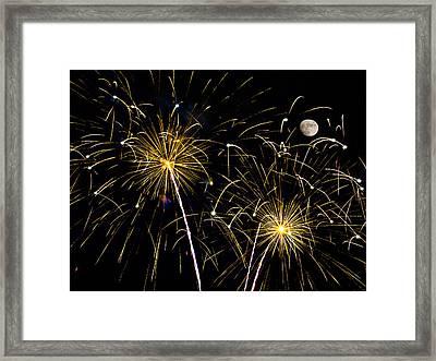 Moon Over Golden Starburst- July Fourth - Fireworks Framed Print by Penny Lisowski