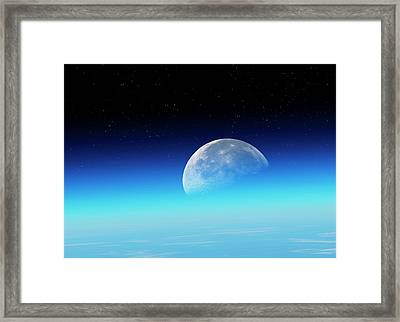 Moon Over The Earth Framed Print by Detlev Van Ravenswaay