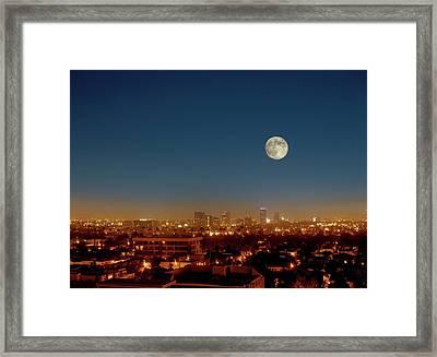 Moonrise Over Los Angeles Framed Print by Detlev Van Ravenswaay