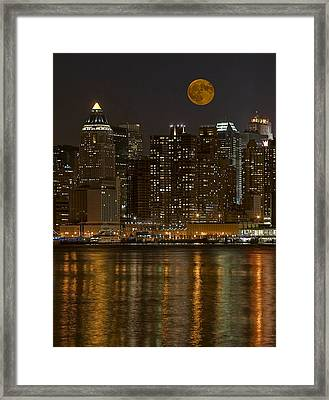 Moonrise Over Manhattan Framed Print