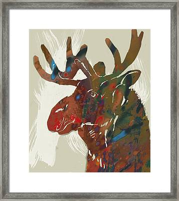 Moose - Wild Animal Stylised Pop Art Drawing Portrait Poster Framed Print