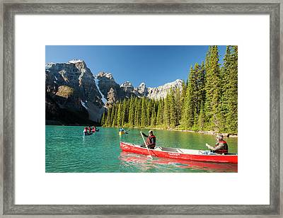 Moraine Lake In The Canadian Rockies Framed Print by Ashley Cooper