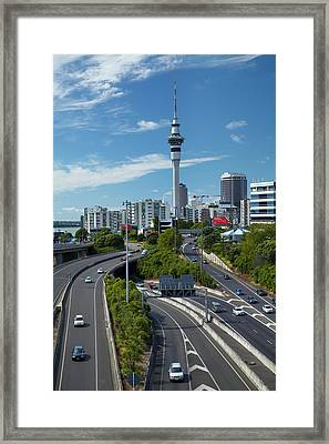 Motorways And Skytower, Auckland, North Framed Print