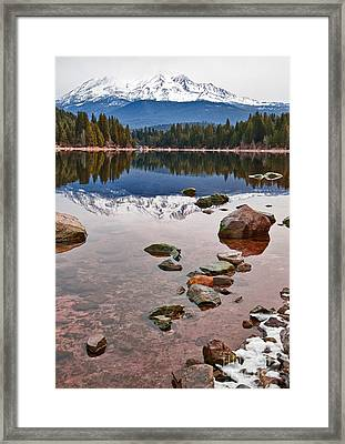 Mount Shasta Reflection -  Lake Siskiyou In California With Reflections. Framed Print by Jamie Pham