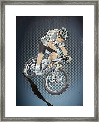 Mountainbike Sports Action Grunge Color Framed Print