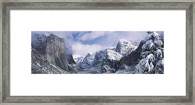 Mountains And Waterfall In Snow, Tunnel Framed Print by Panoramic Images