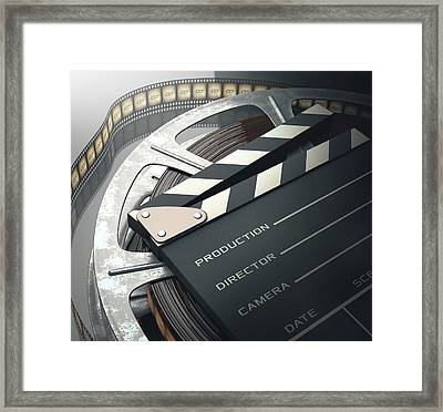 Movie Reel And Clapperboard Framed Print