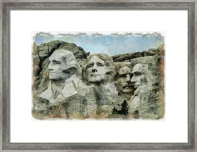 Mt Rushmore Framed Print by Ernie Echols