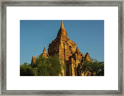 Myanmar Bagan Red Brick Temple Glows Framed Print by Inger Hogstrom