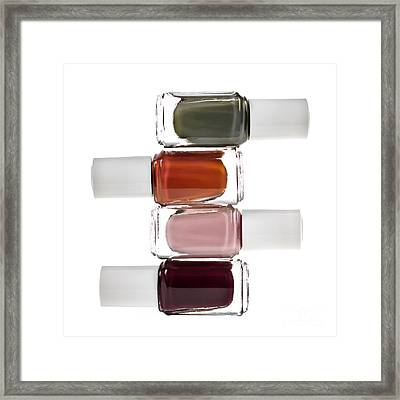 Nail Polish Bottles Framed Print by Elena Elisseeva