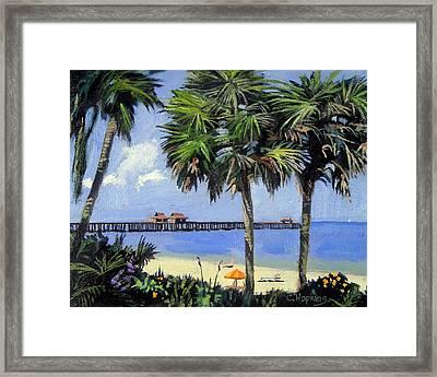 Naples Pier Naples Florida Framed Print by Christine Hopkins