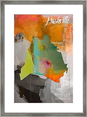 Nashville Map Watercolor Framed Print by Marvin Blaine