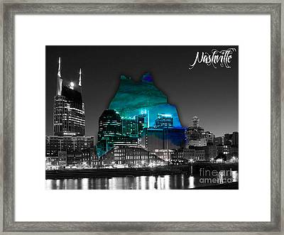 Nashville Skyline And Map Watercolor Framed Print