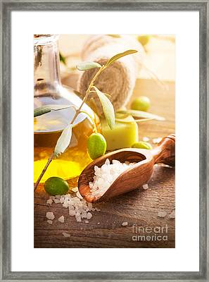 Natural Spa Setting With Olive Oil. Framed Print by Mythja  Photography