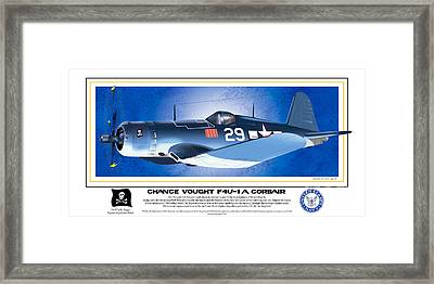Framed Print featuring the drawing Navy Corsair 29 by Kenneth De Tore