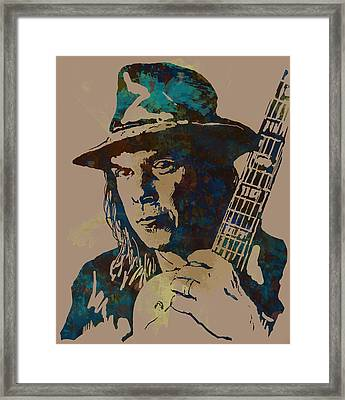 Neil Young Pop Artsketch Portrait Poster Framed Print